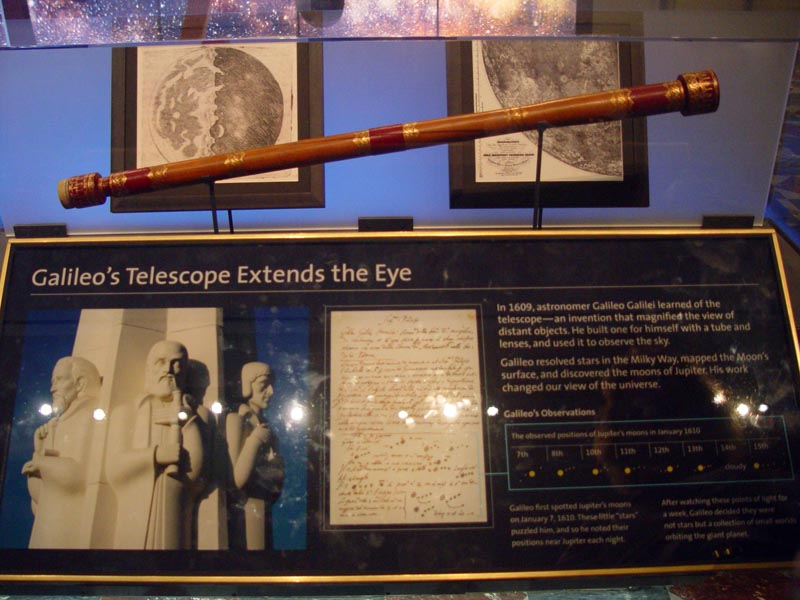 Galileo exhibit with replica telescope at griffith observatory